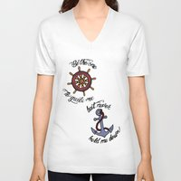 larry stylinson V-neck T-shirts featuring Helm and Anchor. (Larry Stylinson) by Arabella