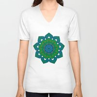 lotus V-neck T-shirts featuring Lotus by Angelo Cerantola