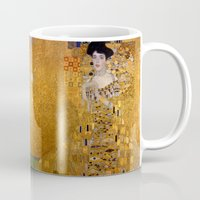 gustav klimt Mugs featuring Adele Bloch-Bauer I by Gustav Klimt by Palazzo Art Gallery