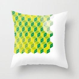 Green Isometric Pattern Throw Pillow