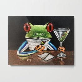 """""""Martini"""" - Frogs After Five collection Metal Print"""