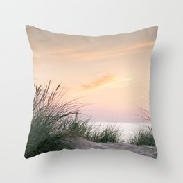 Dune grass at colourful pastel sunset   Painted sky at North Sea, Netherlands   Fine art travel photography Throw Pillow