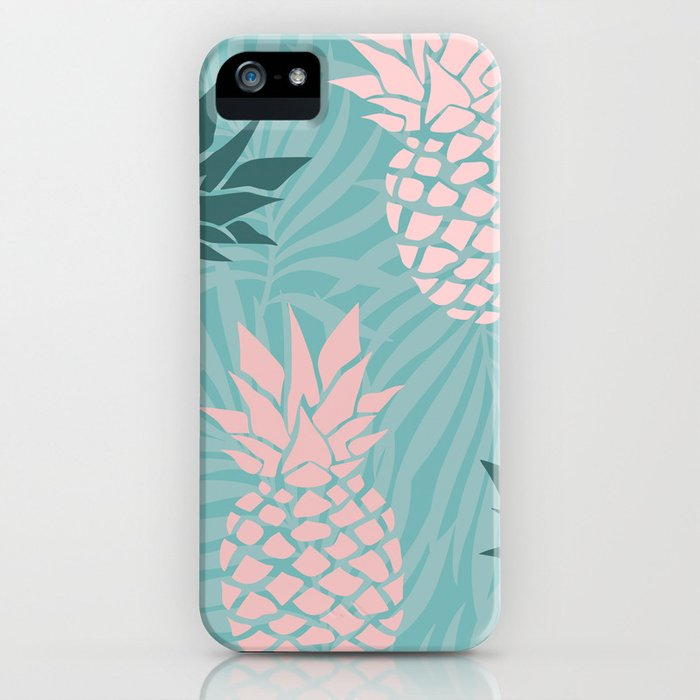 Tropical Pineapple and Palm Leaf Pattern, Teal and Pink iPhone Case