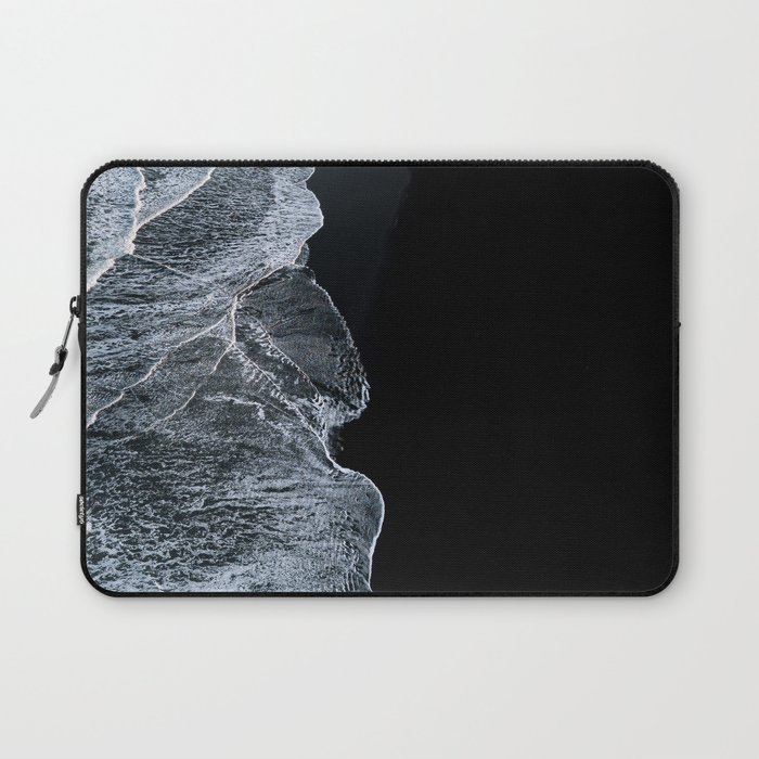 Waves on a black sand beach in iceland - minimalist Landscape Photography Laptop Sleeve