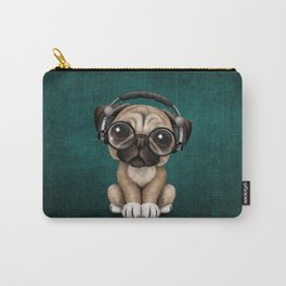 Cute Pug Puppy Dj Wearing Headphones and Glasses on Blue Carry-All Pouch