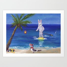 Easter Bunny at the Beach Art Print
