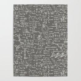 Physics Equations // Slate Grey Poster