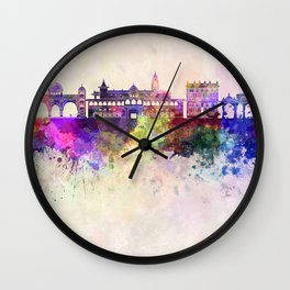 Pune skyline in watercolor background Wall Clock