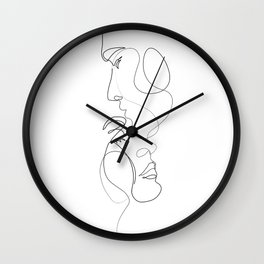 Lovers - Minimal Line Drawing Art Print 2 Wall Clock