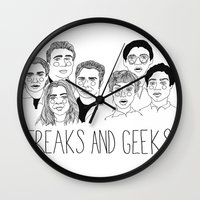 cactei Wall Clocks featuring Freaks and Geeks by ☿ cactei ☿