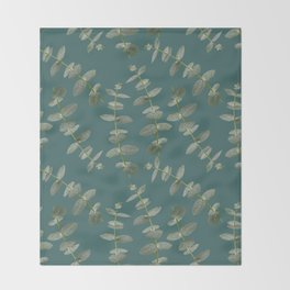 Eucalyptus Patterns with Aqua Background Realistic Botanic Patterns Organic Design with Real Plants Throw Blanket