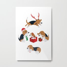 Beagle christmas Metal Print