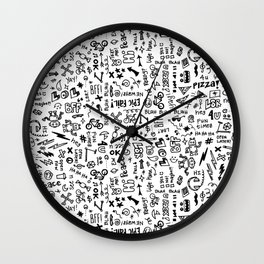 Passing Notes in Class // Old School Handwriting and Doodle Drawings in Black & White Wall Clock