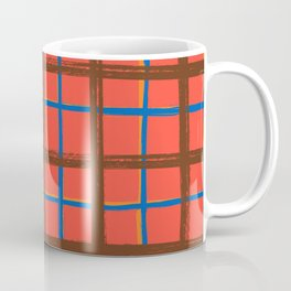 Red plaid, pool tiles pattern, tartan Coffee Mug