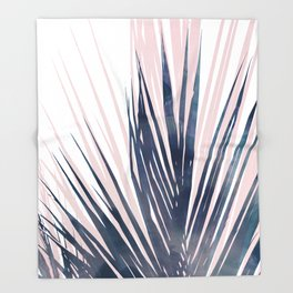 Contemporary Palm Leaf in Navy Blue and Blush Pink Throw Blanket