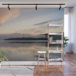 Lifting Up: Geese Rise at Dawn on Lake George Wall Mural