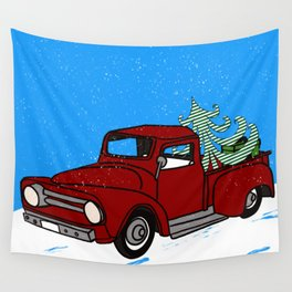Old Red Christmas Truck In Snow Wall Tapestry
