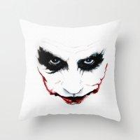 joker Throw Pillows featuring Joker by DirtyArt