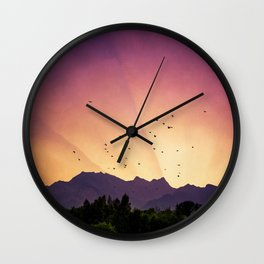 pink skies and purple mountains Wall Clock