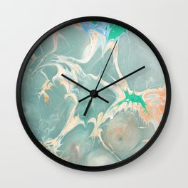 Hand marbeled paper Wall Clock
