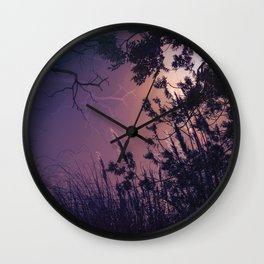 Moonlight Sonata (Tree and Reed Plant Silhouette) Wall Clock