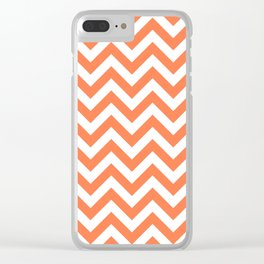 Chevron pattern / coral Clear iPhone Case