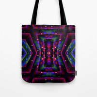 frames Tote Bags featuring GeoNight Frames by Webgrrl