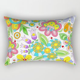 Background colorful flowers, doodleart, abstract graphic-desing vector pattern Rectangular Pillow