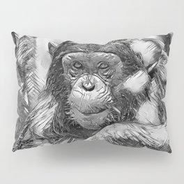 AnimalArtBW_Chimpanzee_20180201_by_JAMColors Pillow Sham