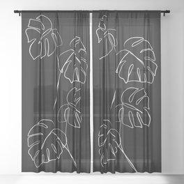 Monstera minimal - black Sheer Curtain