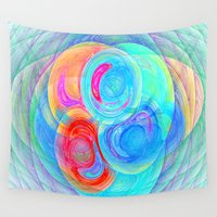 planets Wall Tapestries featuring abstract planets by haroulita