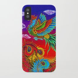 Colorful Fenghuang Chinese Phoenix Rainbow Bird iPhone Case