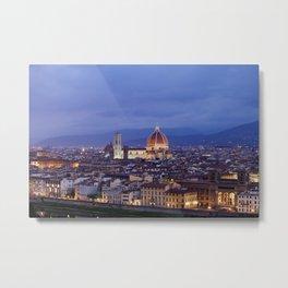 Florence Duomo At Night Metal Print