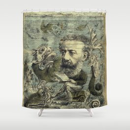 Vintage Jules Verne Periodical Cover Shower Curtain