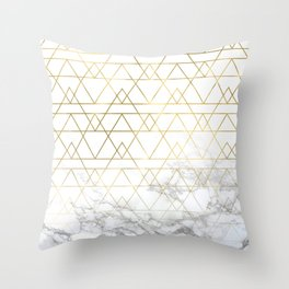 Gold Geometric Marble Deco Design Throw Pillow