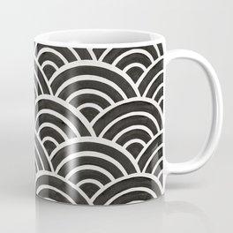 Japanese Seigaiha Wave – Black & White Palette Coffee Mug