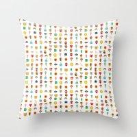 kawaii Throw Pillows featuring Kawaii by heidi kenney