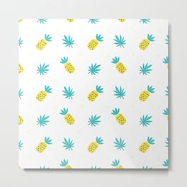 Summer sunshine yellow teal pineapple tropical leaves pattern Metal Print