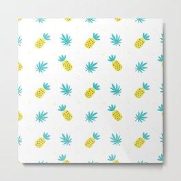 Summer sunshine yellow teal pineapple tropical leaves pattern Metal Print