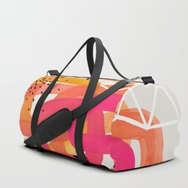 Mid Century Modern Abstract Colorful Art Ombre Magenta Yellow Circles Raindrops Geometric Pattern Duffle Bag