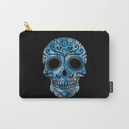 Blue Lace Sugar Skull Carry-All Pouch