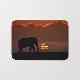Elephant At Sunset Bath Mat