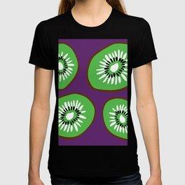 Bright Purple and Green Kiwifruit Pattern T-shirt
