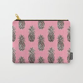 Pink Coral Rose Gold Pineapples Carry-All Pouch