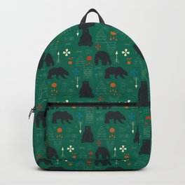 Tribal bear Green Backpack