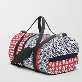 Japanese Style Ethnic Quilt Blue and Red Duffle Bag