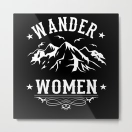 Wander Women Mountaineer Motif Metal Print