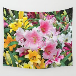 SPRING LILIES FLOWER GARDEN MEDLY Wall Tapestry