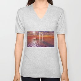 Christian crosses on red sea Unisex V-Neck