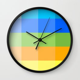 Popsicle Black and White Stripes and Squares Colorful Design Wall Clock